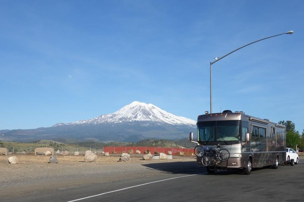 Great view of Mt. Shasta with the moon visible